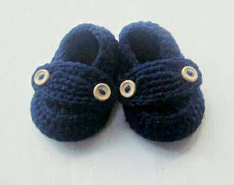 Crochet Baby Booties Organic Cotton Little Button Loafers You Choose size and color