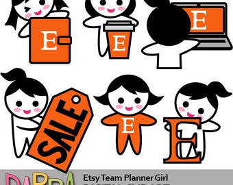 Etsy clip art / Etsy team planner girl black hair clipart, commercial use printable clip art / work, notebook, sale, coffee, Etsy icon