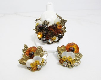 Vintage Brooch and Earring Set: Eclectic Autumn Collage