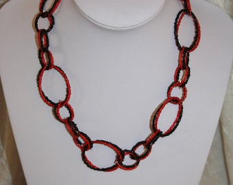 Black and Red necklace with rings