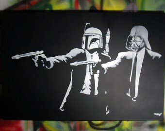 Hand Spray Painted - Banksy Pulp Fiction Star Wars crossover - LARGE spray paint graffiti stencil art on canvas