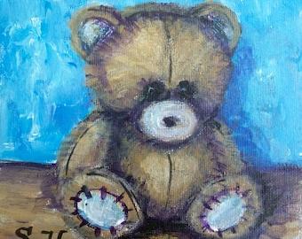 "Teddy Bear Painting Kids art original art 6 x 6"""