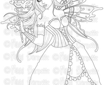 Adult Coloring Page - Printable - Digital Stamp - Fantasy Art - With or Without Wings - Karmina - by Nikki Burnette - PERSONAL USE