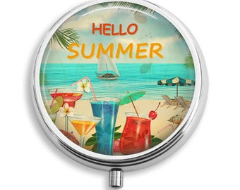 Hello Summer and Beach Drinks Pill Box Case Trinket Box Vitamin Holder Medicine Box Mint Tin Gifts For Her