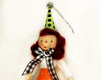 Raggedy Ann doll ornament Fall decor ooak art doll autumn Raggedy Anne small doll toni Kelly original party decor
