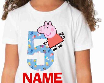 peppa pig  Birthday t-shirt-peppa pig birthday shirt