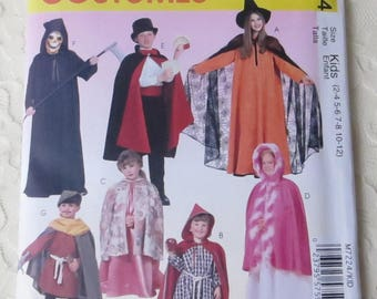 McCalls M7224 Costume Pattern Witch Grim Reaper Red Riding Hood Wizard Woodsman Cape and Tunic Size Kids 2-12