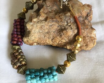 Beads and Brass  Bracelet