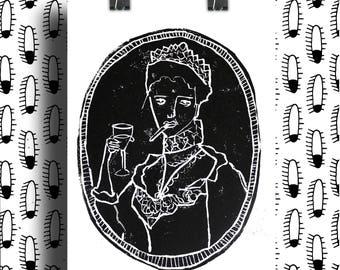 Linocut Queen / Queen Linocut / Free Queen Illustration / A3 size