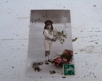 Antique 1900/1910s postcard  French real photo recolored adorable boy with bouquet