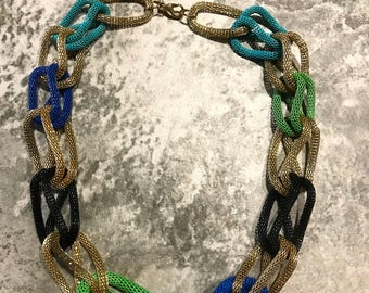 Vintage 5 Colors Round Metal Mesh Rope Entwined Necklace 20 Inches