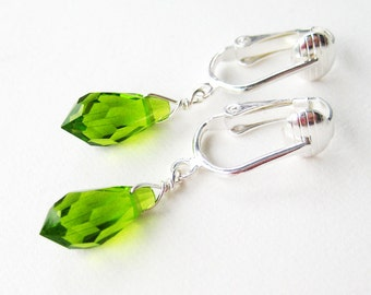 Grass Green Clip On Earrings, Silver Ear Clips, Dangle Clipons, Handmade, Apple Green
