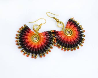 S-Coil Circle Style Earring/Corlorful wax cord tied earring/ black-red-light red-orange tone