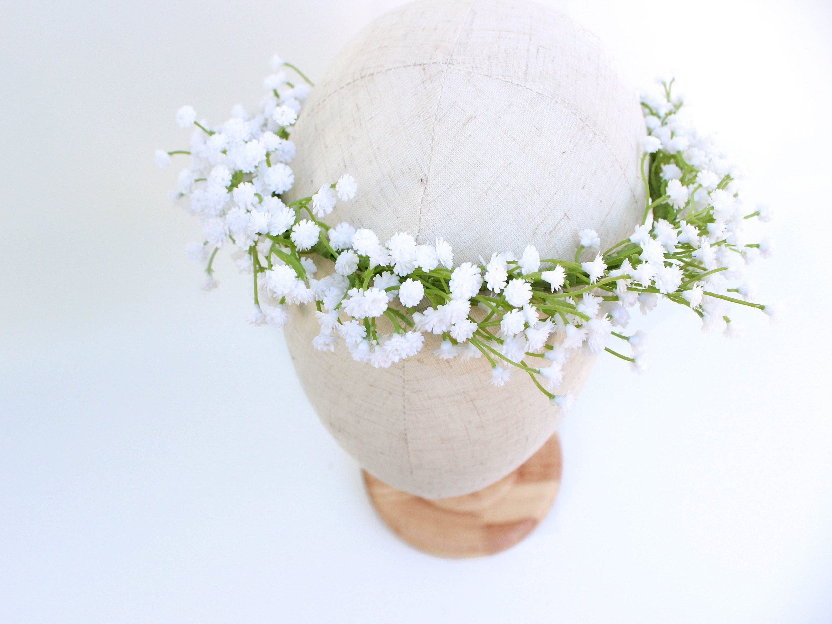 Babies breath flower crown made with artificial babys breath babies breath flower crown made with artificial babys breath white babys breath faux floral halo greenery rustic crown best seller izmirmasajfo
