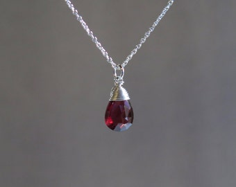 Garnet Necklace - January Birthstone - Sterling Silver or Gold Filled
