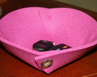 Small Felt Bowl in 5mm Thick Virgin Merino Wool Felt- Pink