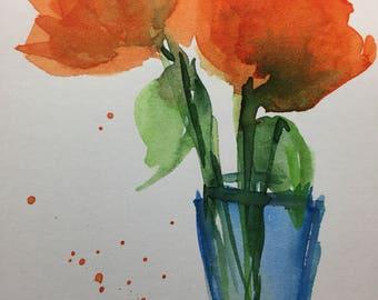 Original Watercolor Watercolor postcard image art Poppy flowers Watercolor