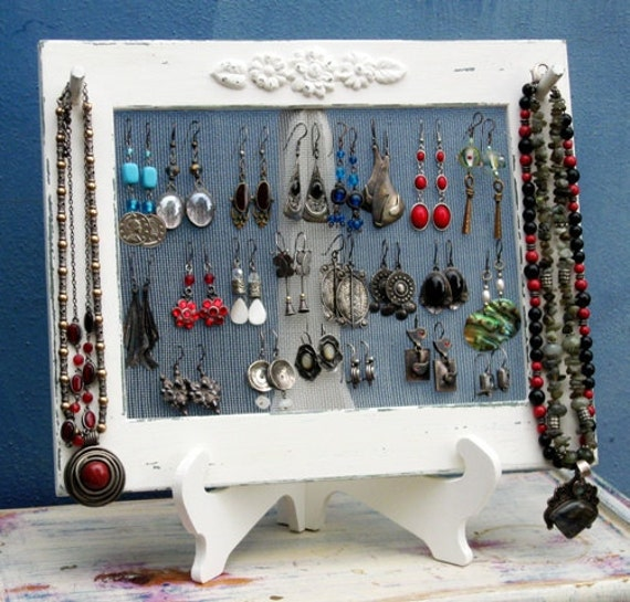 Shabby Chic Jewelry Organizer Necklace Holder Earring