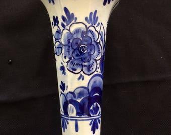 Vintage Porcelain Vase, Made in Delft Holland, Handpainted, Marked DELFT'S BLAUW - 1970