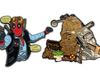 Deadpool Han Solo Enamel Pin Set | DeadSolo + Chewable Chewbacca X-Men Star Wars Boba Fett Soft Enamel X-Force Enamel Pin last Jedi movies