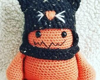 Handmade Cute Crochet Cat Hat Mini Monsters, stuffed toys, plush, plushie, stuffie,stuffed animal