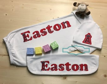 Angels mlb baby etsy los angeles angels baseball baby personalized baby gift negle Image collections