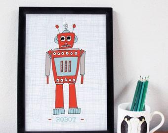 Robot Print - A3- nursery decor - nursery art - kids room - robot art - boys room - gifts for boys - robot drawing - home decor