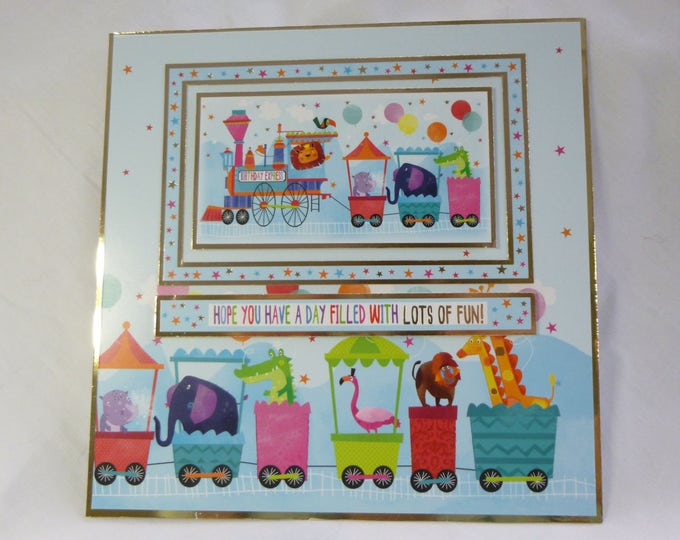 Children's Card, Birthday Card, Colourful and Bright Card, Animals in a Train, Boy or Girl, Any Age, Son, Daughter, Niece, Nephew,