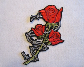 Embroidered Rose Wrapped With Barbwire Iron On Patch, Rose Patch, Rose And Barbwire Patch, Iron On Patch, Iron On Applique, Rose Applique