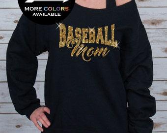 Baseball Mom Off Shoulder Raw Edge Sweatshirt for Women GLITTER, Mom Sweatshirt, Mothers Day, Baseball Tee, Plus Sizes (Gold Glitter)
