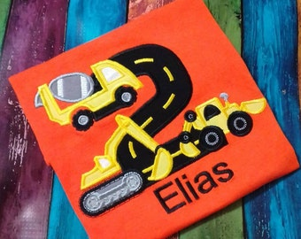 Appliqued Road Construction Birthday Monogrammed Boy's T-shirt