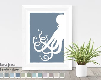 Octopus print, nautical print, silhouette print, sea creature, octopus poster, sea animal, octopus art, nautical decor