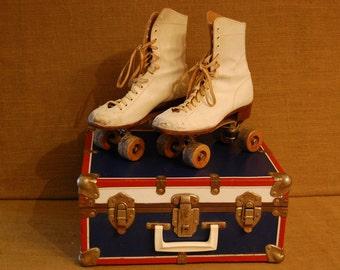 Vintage Roller Skates and Skate Case 1960's, vintage white leather roller skates size6, red,white and blue skate case, both in great shape