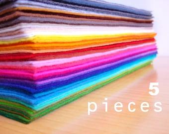 5 wool felt fabric pieces15x20cm - Choose your colors -Irisfelt-