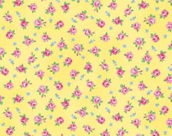 RURU  Ruru Bouquet Tea Party  Cotton Fabric Quilt Gate RU2270-16D Small Roses on Yellow