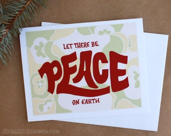 """Peace Christmas Card, Peace on Earth, Xmas Cards, Holiday Greeting Cards, """"Let there be peace on Earth"""" A2 Greeting Card"""