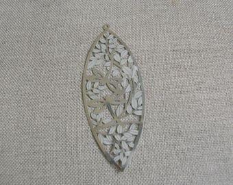 Pendant print silver metal, Japanese, dragonfly