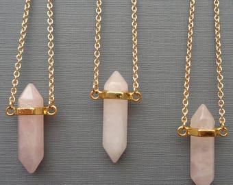 Double Terminated Rose Quartz Point Necklace / Rose Quartz Point Necklace Gold/ Pink Love Stone / Natural Rose Quartz Pendant //GP43