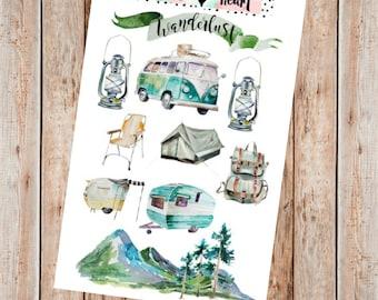Vintage Wanderlust Camping planner stickers