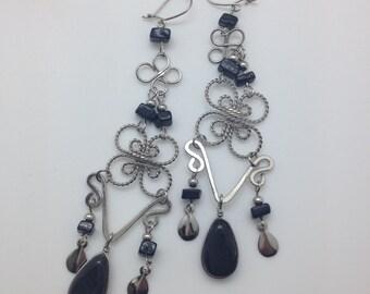 Shoulder duster earrings, Black onyx earrings, chandelier earrings, Bohemian earrings, Boho earrings, boho jewelry FREE SHIPPING!