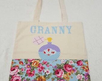 Granny shopping bag Handmade Granny calico tote shopping, market bag