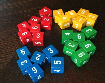 25 Wooden Numbered Dice Math Assemblage Findings FREE US SHIPPING