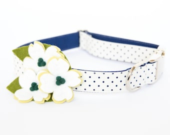 Dogwood Flower Dog Collar - Cream and Navy Swiss Dot