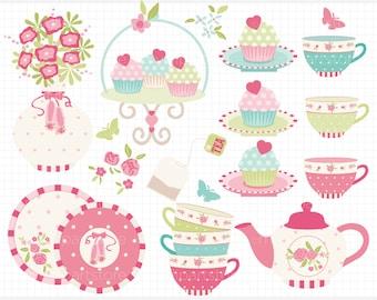 Clipart - Tea Garden (2) / Tea Set / Ballerina Tea Party - Digital Clip Art (Instant Download)