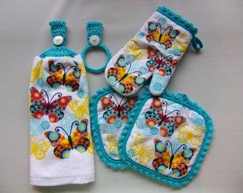 crochet top hanging kitchen towel set of 5, spring hand towel gift set, spring hand towel, made with full towel no cut no sew, spring decor
