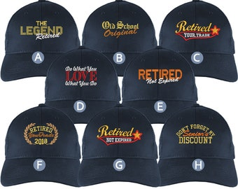 Custom Retirement Embroidery Design on a Navy Blue Full Fit Classic Adjustable Trucker Cap 8 Designs to Choose From Some Personalized