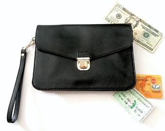 Danier Evening Bag - Wristlet Wallet - Designer Wallet - Womens Wallet Women - Ladies Wallet - Woman Wallets Vintage Wallet Clutch Bag Black