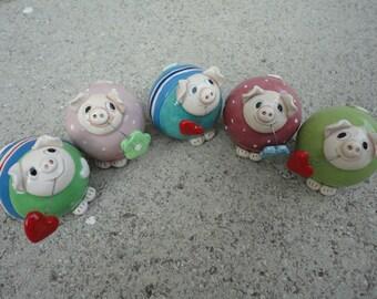 One ceramic pig- funny ceramic animal- gift idea- home decoration