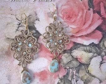 Tatting lace chandelier earrings. Earrings frivolite. Beaded earrings.Long earrings.Victorian style earrings.Filigrees earrings