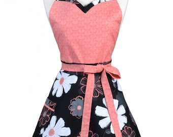 Sweetheart Retro Apron - Black White Coral Large Floral Daisies Apron - Womens Flirty Sexy Kitchen Pinup Cute Apron with Pocket